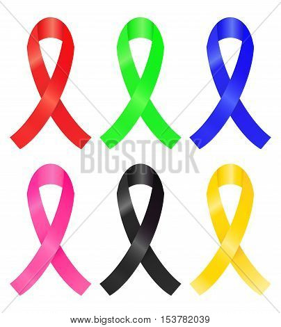 Set of colorful awareness ribbon (red green blue pink black gold)