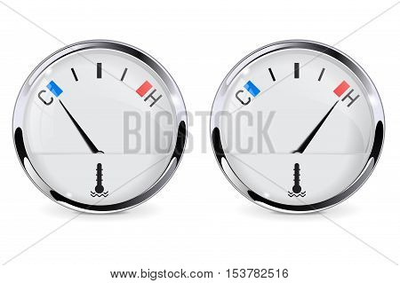 Thermometer - car temperature gauge. Cold and hot level. Vector illustration isolated on white background