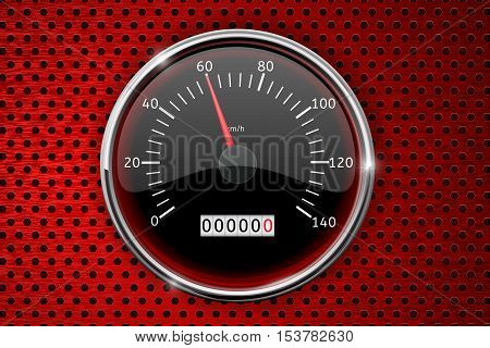 Speedometer on red perforated background. Allowed speed - sixty kmh. Vector illustration