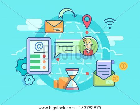 E-mail sending and receiving, communication and correspondence at distance. Vector illustration