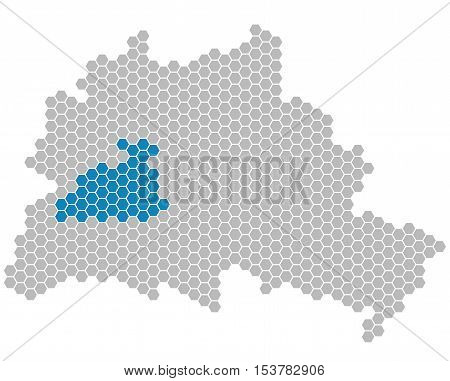 Set: Map of Berlin with grey and blue Pixels showing district of Charlottenburg-Wilmersdorf