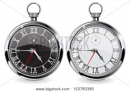 Pocket watch. Realistic vector illustration isolated on white background