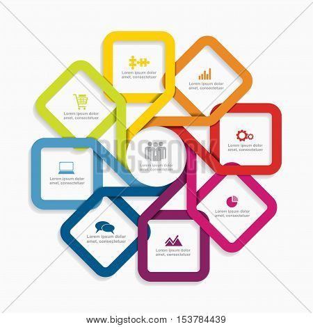 Infographic design template with elements and icons. Vector illustration