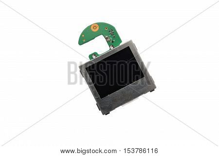 The chip of the central processor is isolated on a white background with the screen