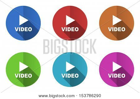 Flat design vector video icons. Web and app buttons.