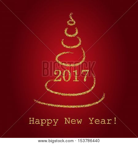 Gold glitter Abstract Christmas tree made of sparkles and lights. vector illustration greeting card. Happy new year and merry christmas