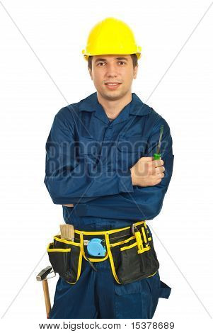 Young Worker Man Holding Screwdriver
