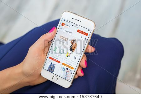 RIGA LATVIA - SEPTEMBER 8 2016: Aliexpress.com online retailer homepage on smartphone.