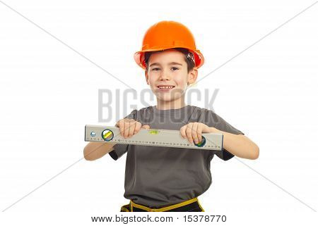 Smiling Kid Boy With Bubble Level