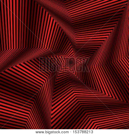 Digital Whirling Red Pentagonal Star Forms