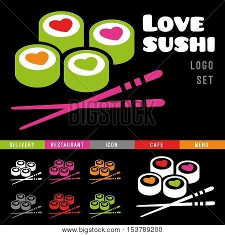 Sushi restaurant logo set. Delivery, cafe, love, japan dishes, menu, flat, roll, icon, japanese chopsticks, heart.