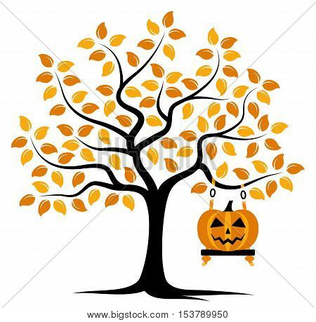 vector autumn tree with swing and halloween pumpkin isolated on white background
