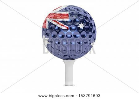 golf ball on a tee with flag of Australian 3D rendering isolated on white background