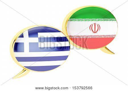 Speech bubbles Iranian-Greek translation concept. 3D rendering