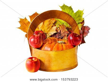 Pumpkin and apples in wooden basket on white background