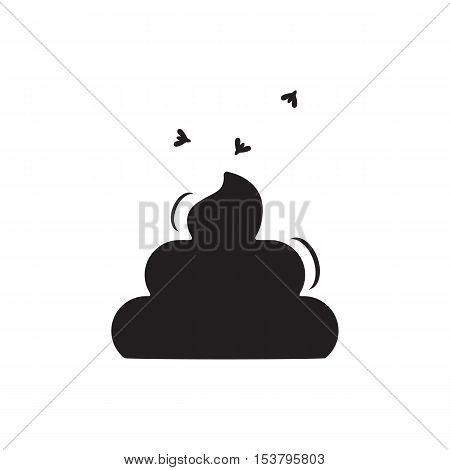 Simple Poop and Fly Icon Isolated On White Background