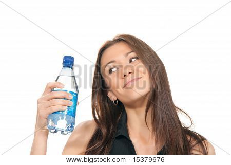 Woman Holding A Bottle Of Water In Her Hand