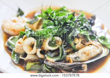 stir-fried basil with seafood or Stir Fried Seafood dish Thai food