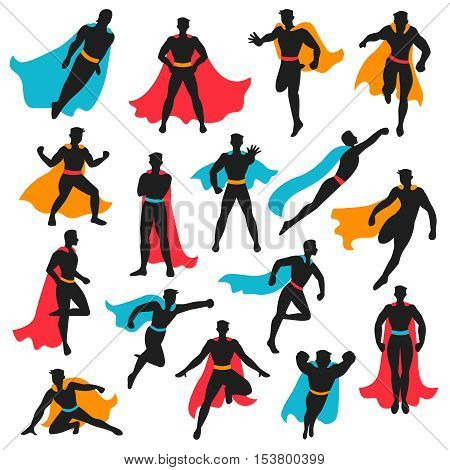 Set of black superhero silhouettes in different poses with colored waving cloaks on white background isolated vector illustration