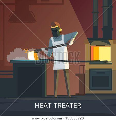 Blacksmith heat treating steel on anvil retro cartoon poster of hardening and tempering metalworking process vector illustration