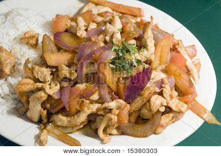 Chicken Pollo Saltado Traditional Peruvian Food