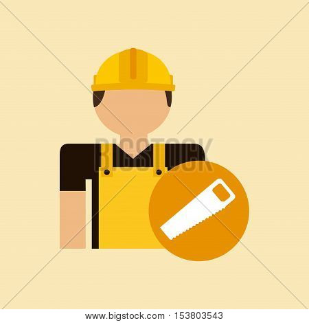 character construction man with tool box saw vector illustration eps 10