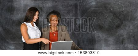 Businesswoman who is helping an elderly person plan their retirement