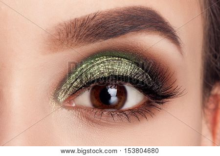 Make-up of woman eye with khaki eyeshadow. Beauty portrait of a girl model with make-upgreen eyes. Creative Professional makeup: green eye shadow. open the eyes