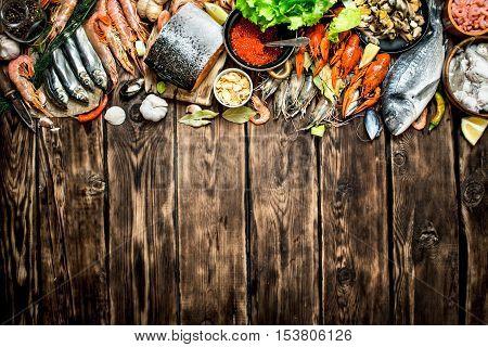 Variety Of Seafood Shrimp, Fish, And Shellfish.