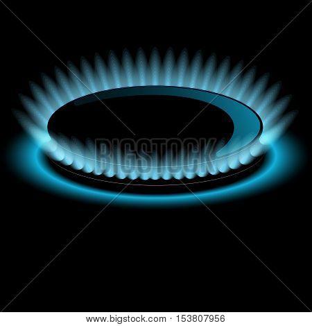 Gas burners, blue flame, vector Dark background
