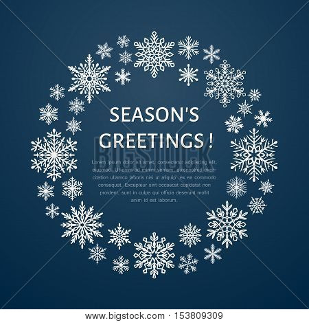 Cute snowflake poster banner. Seasons greetings. Flat snow icons snowfall. Nice snowflakes christmas template cards. New year snowflakes with place for text. Merry Christmas wreath