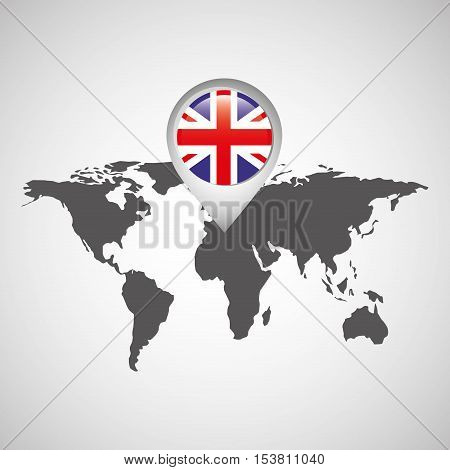 great britain flag pin map design icon vector illustration eps 10