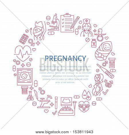 Medical poster template. Vector line illustration of pregnancy planning and obstetrics. Gynecology elements - chair check-up test doctor ultrasound baby. Healthcare banner design editable stroke
