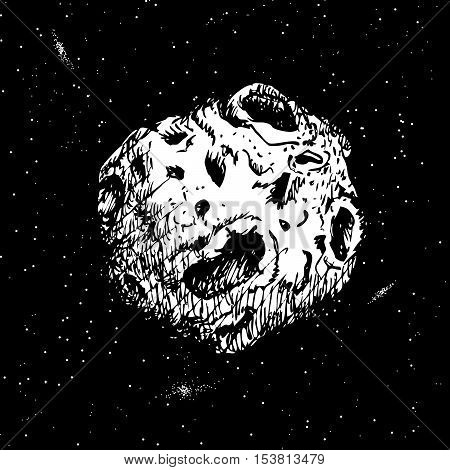 Asteroid flying in cosmos.Hand drawn style.Vector illustration