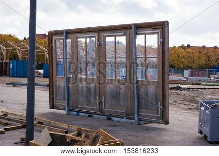 Loose Door Alone Architecture Construction Object Four Pane Glass Entrance Site Interesting