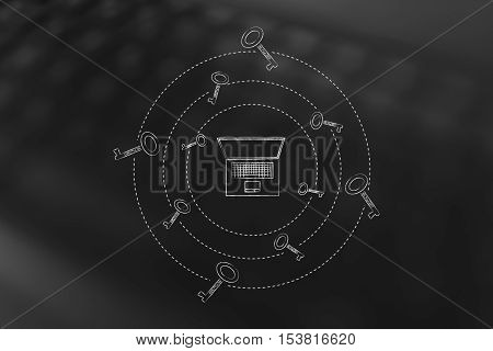Keywords To Generate More Views: Laptop With Keys Spinning Around It