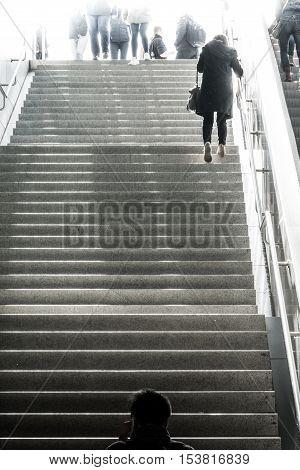 Woman Ascending Staircase Black White Dramatic Heaven Walking Perspective Below