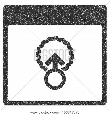 Cell Penetration Calendar Page grainy textured icon for overlay watermark stamps. Flat symbol with unclean texture. Dotted vector gray ink rubber seal stamp with grunge design on a white background.