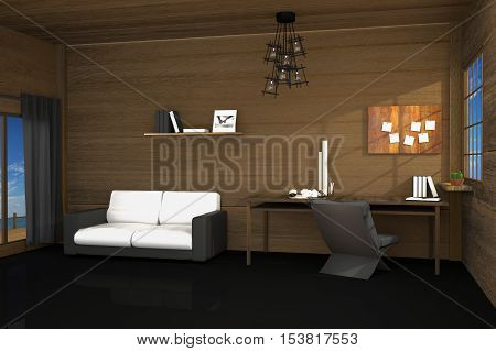 3D Rendering : illustration of modern room interior design with creative workplace.tools on wooden table and wooden room.curtain and window with sunlight shining from the outside. sundeck and seaview