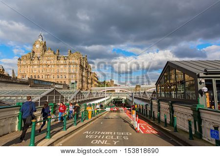 Entrance Of The Waverly Station In Edinburgh