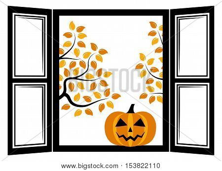 vector halloween pumpkin in the window and autumn trees outside the window