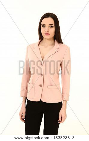 arabian business executive woman with straight hair style in official two pieces trousers jacket suit close up photo isolated on white