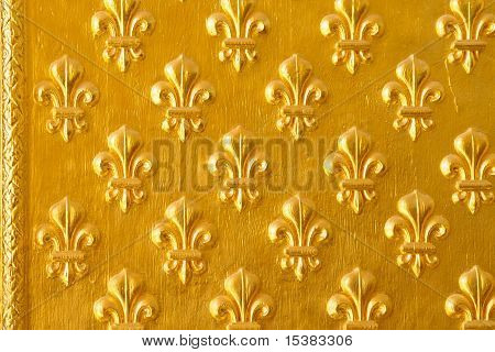 Ornated Door With Decorative Golden Flower Pattern