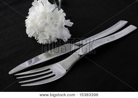 Restaurant Cutlery with Carnation