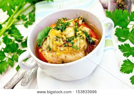 Fish Baked With Tomato And Spices In White Bowl On Board