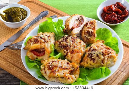 Stuffed Chicken Breast With Ham, Cheese, Tomatoes, View From Above