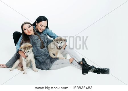 pretty sexy brunette women with long straight hair fashion makeup in denim look with cute little dogs of husky isolated on white background copy space