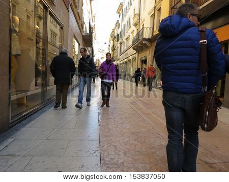 People Strolling In The Streets Of Verona City Centre