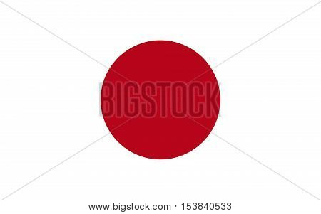 Vector image of Japan flag. The area of Japanese flag has a ratio of 2 units high and 3 units wide. The size of the sun disc is 3/5 of the height of the flag.