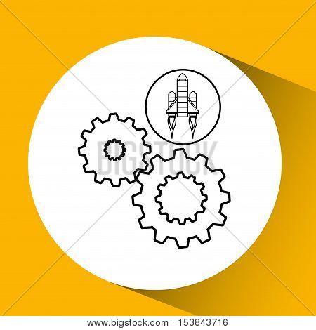 red rocket concept business teamwork cooperation vector illustration